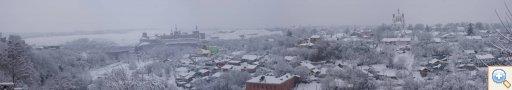 Панорама польських фільварок в Кам'янці-Подільському під час снігопаду